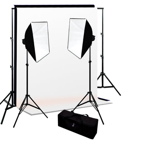 360W 2-MonoLight Strobe Softbox Flash Lighting kits, Background Support & Backgrounds