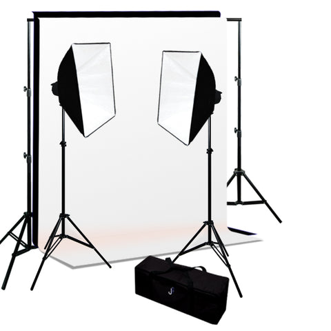 320W 2-MonoLight Strobe Softbox Flash Lighting Kits, Background Support & Backgrounds