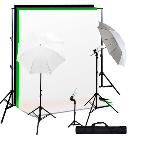 Photo Studio Umbrella Continuous 3 Lighting Kit, Background Support, Black White Green 3 Muslin Backdrops