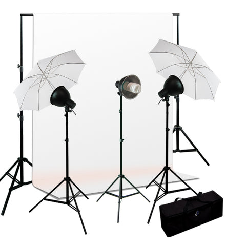 Photo Studio Premium Umbrella 600W 3 Lighting kit, Background Support, Muslin Background