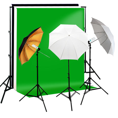 Reflective Soft Umbrella Complete Photography Video Stuido 3 Lighting Kits, Background Support, Black White Green 3 Muslin Backdrops