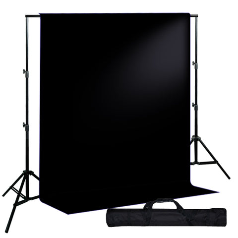 Backdrop Support System w/ One Color Muslin Backdrop - Black