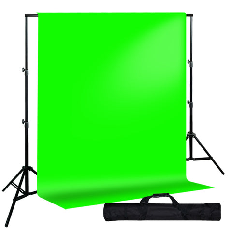 Backdrop Support System w/ One Color Muslin Backdrop - Green