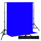 Backdrop Support System w/ One Color Muslin Backdrop - Blue