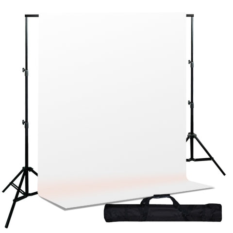Backdrop Support System w/ One Color Muslin Backdrop - White