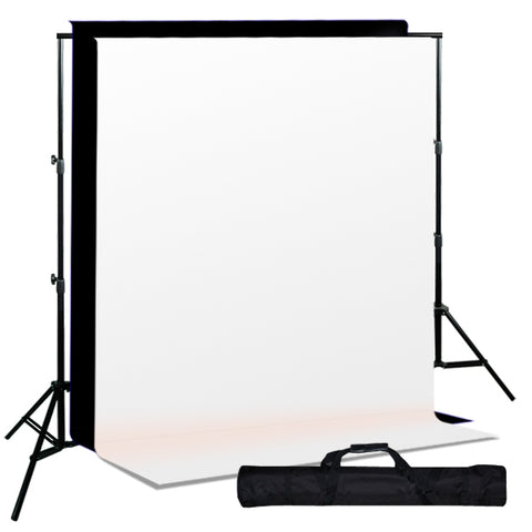 Background Support System w/ Black White Muslin Backdrops & Carry Case