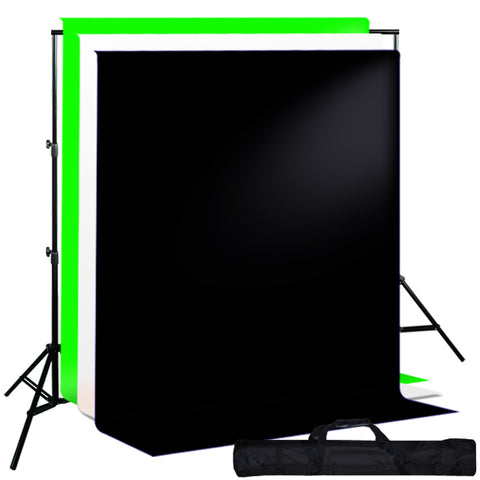Background Support System w/ Black, White, Green Muslin Backdrops & Carry Case