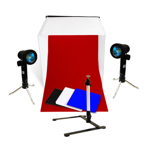 "Photo Studio Table Top Lighting Kit w/ 16""or 20"" or 24"" Tent"