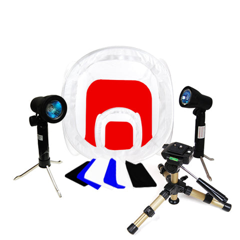 Photo Studio Table Top Lighting Kit w/ 2 Tent & 2 Light Kit Set