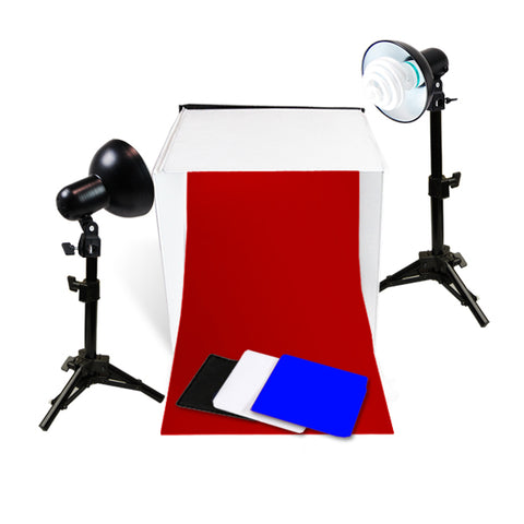 "Photo Studio Table Top Lighting Kit, w/ 16"", 20"" or 24"" Tent"