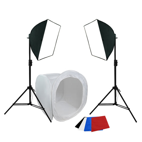 "Large Item Table Top Photography, 600W Softbox Continuous Lighting Kit, 40"", 48"", 60"""