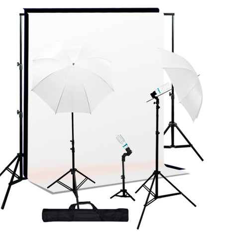 1000W Lighting Kit Black White Muslin Backdrop & Background Stand Kit
