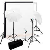 1000W Lighting Kit w/ Backdrop Support System & 6x9' Black White Muslin Backdrop