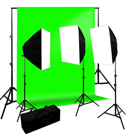 Chromakey Green Screen Kit 2400W Softbox Video Lighting Kit