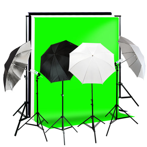 Lighting Kit w/ Black, White, Green Muslin Supporting System