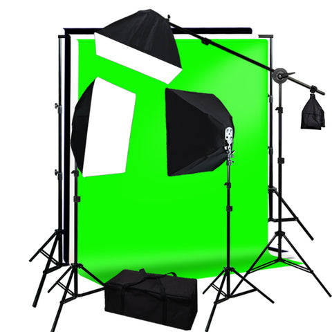 6 x 9' Green, Black, White Screen Muslins Backdrops Background Support Kit 2400W