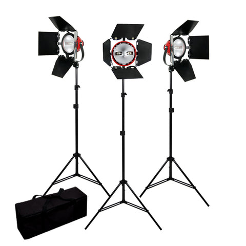 2400W Lights Constant Continuous Video Studio 3 Barndoor Kit