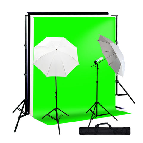 "10 x 10' Muslin Black, White, Green Backdrop Support Kit w/ 33"" White Umbrella Light Kit"