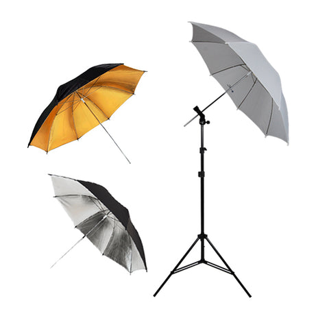 Photography Photo Studio Flash Mount 3 Umbrellas Kit w/ Light Stand