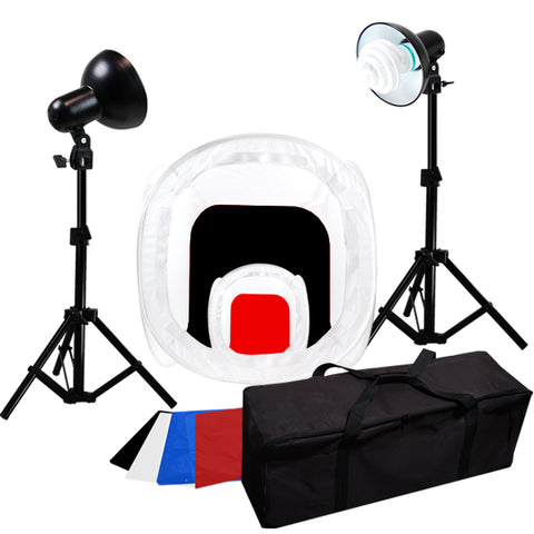 Table Top Photography Studio Lighting Tent Kit - 2 Tents, 2 Light Kits, 1 Case