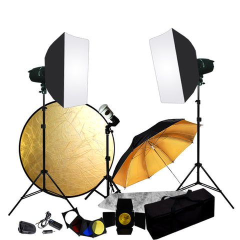 Complete Portrait Studio Kit w/ Flashes Softboxes Gels & Barn Door