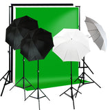 800W 2 Umbrella Complete Photography Video Stuido Lighting Kits, Background Support, Black White Green 3 Muslin Backdrops