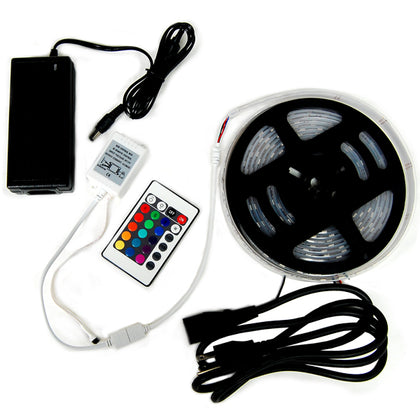 5M RGB Waterproof Strip 300 LED Light, IR Remote controller, Power Supply