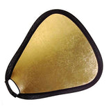 "2-in-1 24"" Gold/ Silver or White/ SilverTriangular Collapsible Disc Reflector w/ Grip, Triangular Refector"