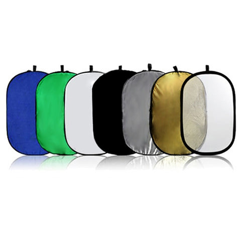 "7-in-1 24x36"" Collapsible Disc Reflector, w/ Translucent, White, Black, Blue, Green, Gold, and Silver"