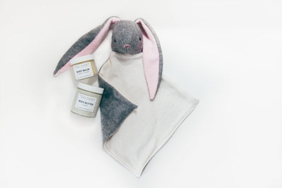 Baby Gift Set~ Lavender Baby Butter, Baby Balm, & Emergolde Organic Bunny or Fox Lovey