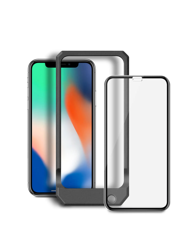 Blu Element - 3D Curved Glass Case Friendly Screen Protector Black with Installation Kit for iPhone XS Max - GekkoTech