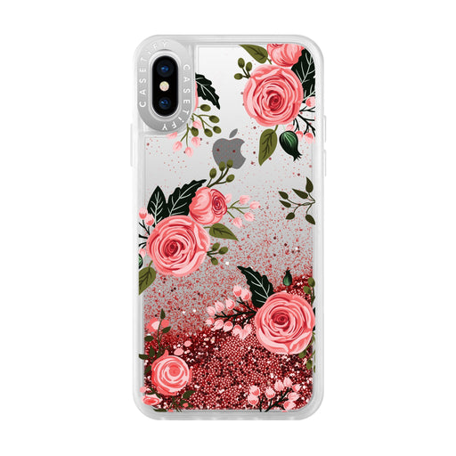 Casetify - Glitter Case Pink Roses (Pink) for iPhone Xs/X