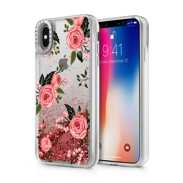 Casetify - Glitter Case Pink Roses (Pink) for iPhone Xs/X - GekkoTech