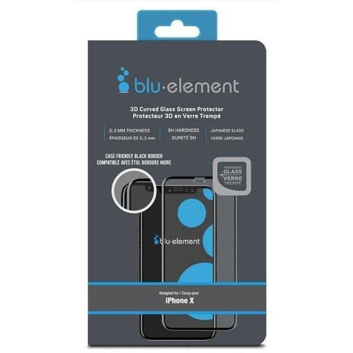 Blu Element 3D Curved Glass Screen Protector with Easy Installation Kit for iPhone X / Xs