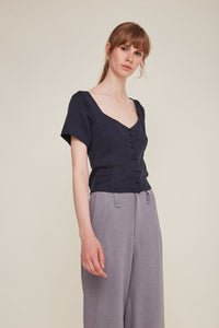 chiara top navy by Rita Row at thegreenlabels