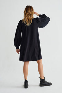 Shop flora black dress by Thinking Mu at thegreenlabels