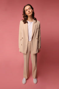 shop jacket almond beige by Capsule Studio at thegreenlabels.com