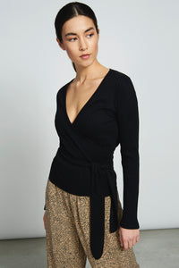 chelsea wrap long sleeve black rib top  by JAN'N JUNE