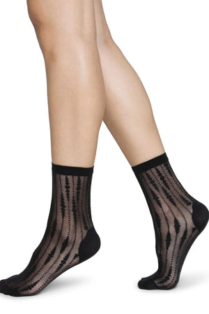 josefin drop socks black by Swedish Stockings on thegreenlabels