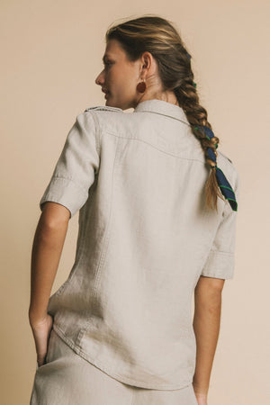 stone hemp kariba blouse by Thinking Mu on thegreenlabels