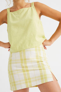 shop checks tulipan skirt lime by Thinking Mu on thegreenlabels
