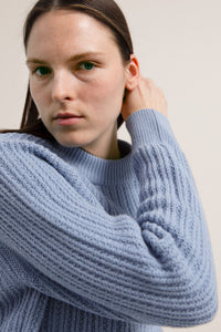 shop hinaa knit arctic blue by armedangels on thegreenlabels