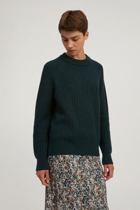 hinaa knit sweater deep lake