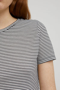Shop lidiaa small stripes black oatmilk by ARMEDANGELS on thegreenlabels