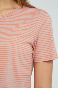 Shop lidiaa small stripes t-shirt sunrise kinoko by ARMEDANGELS on thegreenlabels