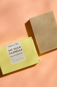 Oat silk & calendula body and shampoo bar by Helemaal Shea on thegreenlabels