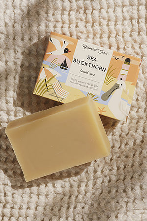 sea buckthorn facial soap bar by Helemaal Shea on thegreenlabels