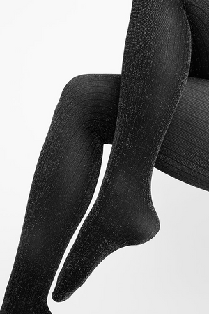 lisa lurex pattern stockings black <br> by Swedish Stockings