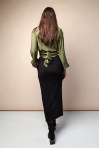 Shop wrap blouse olive by Cossac at thegreenlabels