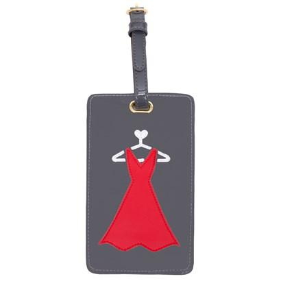 Luggage tag in charcoal with red dress